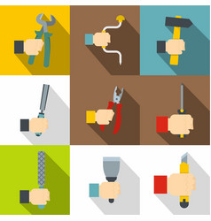 Hand with tools icons set flat style vector