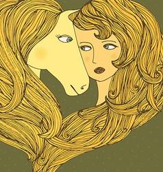 GirlLovesHorse vector image