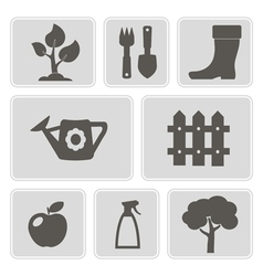 Monochrome icons of horticultur vector