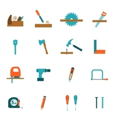 Carpentry tools flat icons set vector