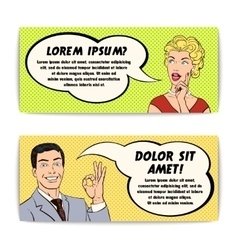 Comics man and woman banner set vector