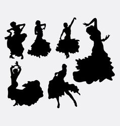 Female flamenco dancer silhouettes vector