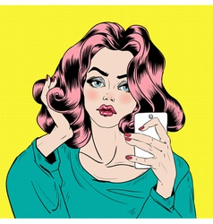 Attractive girl in pop art style is doing selfie vector
