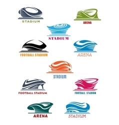 Sports stadiums and arena icons vector