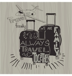 Travel inspiration quotes on suitcase silhouette vector