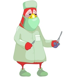 Funny parrot doctor vector