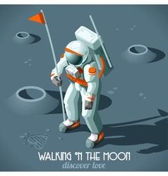 Astronaut moon landing isometric vector