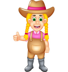 Cute farmer cartoon posing with smile and thumb up vector