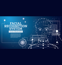 Facial recognition system concept with neon lines vector