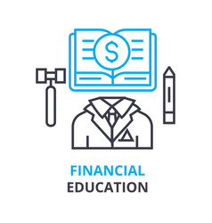 financial education concept outline icon linear vector image vector image