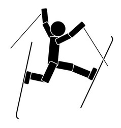 freestyle skiing flat icon vector image vector image