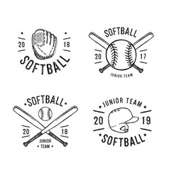 Hand drawn emblem of softball vector