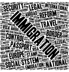 Immigration word cloud vector image