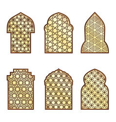 islamic classical windows and doors with arabic vector image vector image