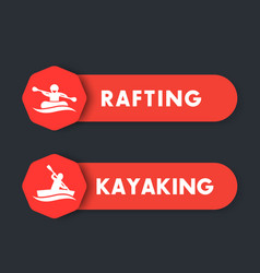 kayaking rafting icons labels banners vector image