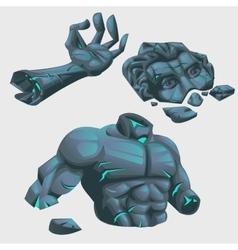 Magical ruins of sculptures arm head and torso vector