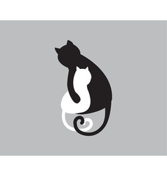 Mothers love icon of cat and kitty vector image vector image