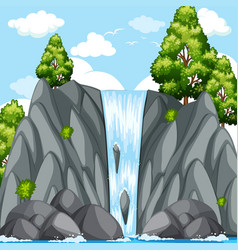 Nature scene with waterfall at daytime vector