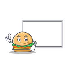 okay burger character fast food with board vector image