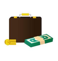 Portfolio with money isolated icon vector