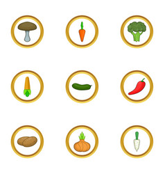 Raw vegetables icons set cartoon style vector