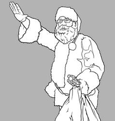 santa claus waving and holding a sack vector image vector image