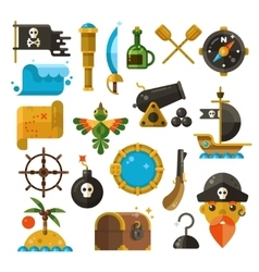 Sea adventure pirate weapon treasure vector image vector image