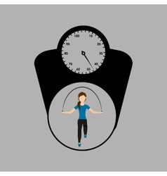 Sport woman jumping rope and weight scale vector