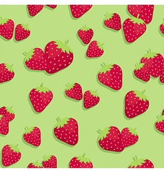 Strawberry seamless pattern green vector