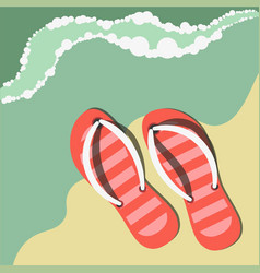 Striped flip flops on sand near water summer vector