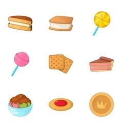 Sweet bakery icons set cartoon style vector