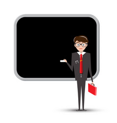 Teacher or businessman with empty blackboard vector