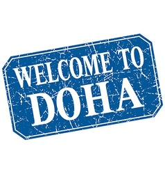 Welcome to doha blue square grunge stamp vector