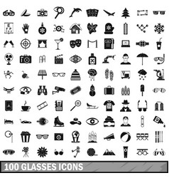 100 glasses icons set simple style vector