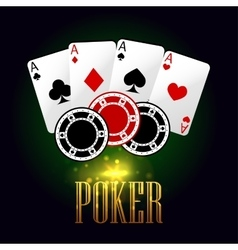 Poker banner with playing cards and chips vector