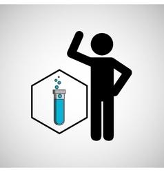 Silhouette man science test tube liquid vector