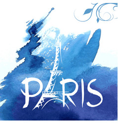 tower eiffel with paris lettering vector image