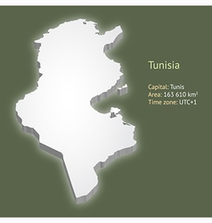 3d map of tunisia vector