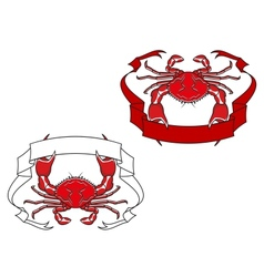 Red crab with ribbon in claws vector