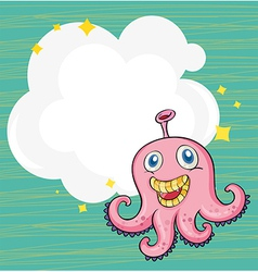 An empty cloud template with an octopus vector