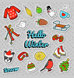 hello winter doodle with christmas decoration vector image