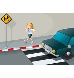A girl running at the streetside vector