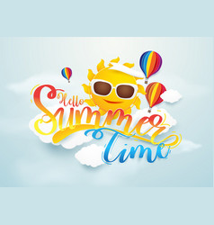 Summer time banner design sun and hot air vector