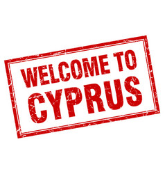 Cyprus red square grunge welcome isolated stamp vector