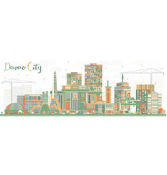 Davao city philippines skyline with color vector