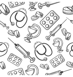 Seamless background of medical items vector