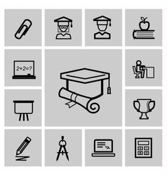 education icons signs set vector image