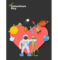 Astronaut and alien friends valentines day in vector