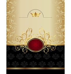 Luxury gold label with emblem - vector