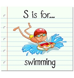 Flashcard letter s is for swimming vector